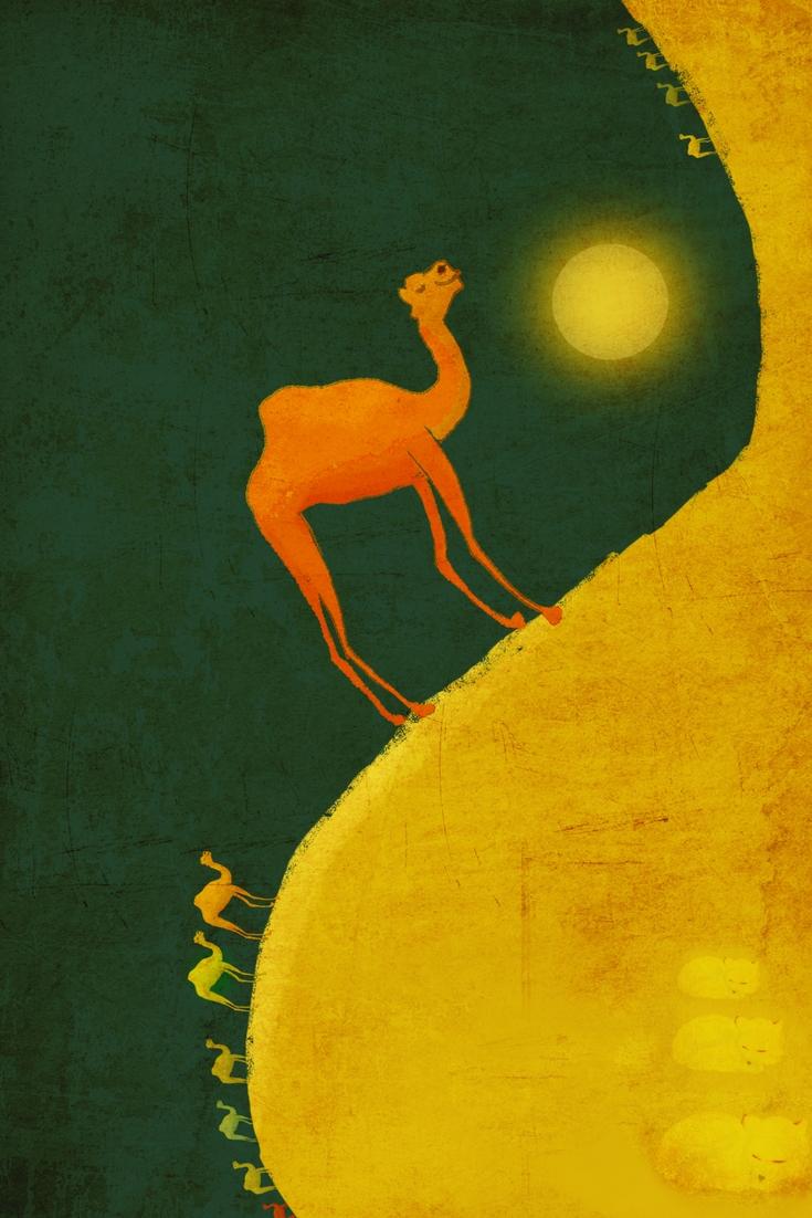 """Ilustrație de Ana Alfianu, inspirată de textul """"12 cămile şi 3 vulpi"""""""