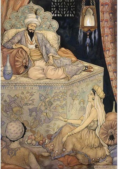 Ilustrație de Anton Pieck (sursa: http://www.artistsandart.org/2009/07/art-of-anton-pieck-1001-arabian-nights.html)