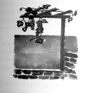 """Ilustrație de Maria Pillat-Brateș , din volumul """"Vinul de-altădată"""""""